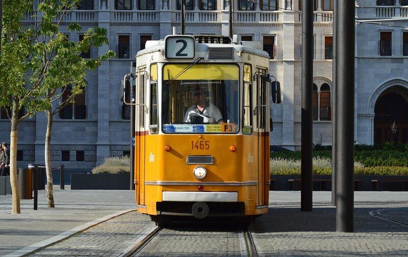Budapest's yellow tram. Transportation