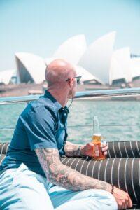 Drinking beside the Sydney Opera Hous