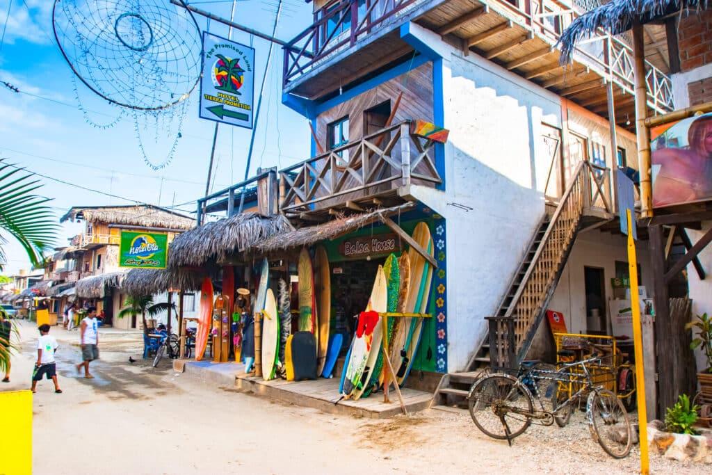 Montanita.,Ecuador.,Montanita,Village.,Streets,Of,Montanita.,Exotic,Street,Shops.