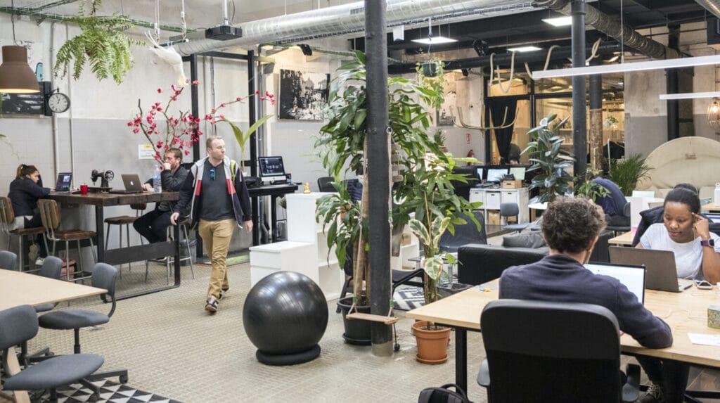 Le co-working La Vaca dans le quartier Barcelonais de Poble Sec. Dans une ambiance decontracte, des designers, start up, graphistes, photographes, entre autres, utilisent ces bureaux de nouvelle generation.